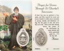 Saint Charbel Prayer Card and Medal