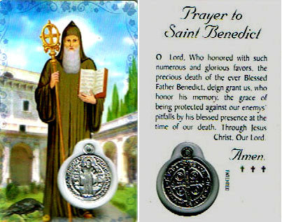 Saint Benedict Prayer Card and Medal
