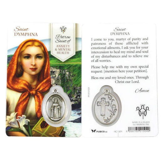 Saint Dymphna Patron Saint Anxiety & Mental Health Prayer Card with Medal