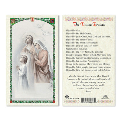 Divine Praises Prayer Card