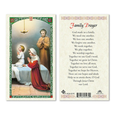 Family Prayer Prayer Card