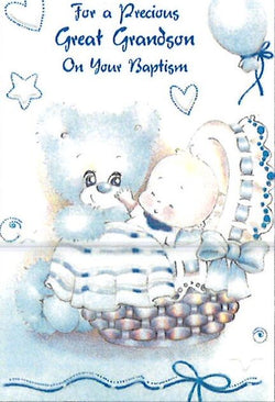Greetings of Faith - For a Precious Great Grandson on your Baptism - Greeting Card