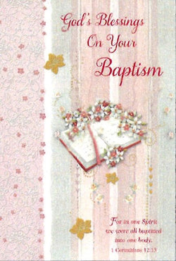 Greetings of Faith - Gods Blessings On Your Baptism - Greeting Card
