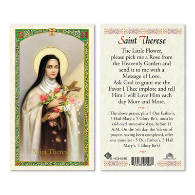 St. Therese Little Flower Prayer Card