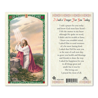I Said a Prayer For You Today  Prayer Card