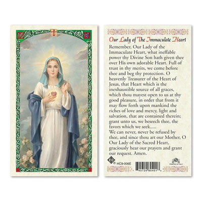 Our Lady of the Immaculate Heart Prayer Card
