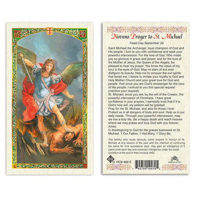 St. Michael Novena Prayer Card