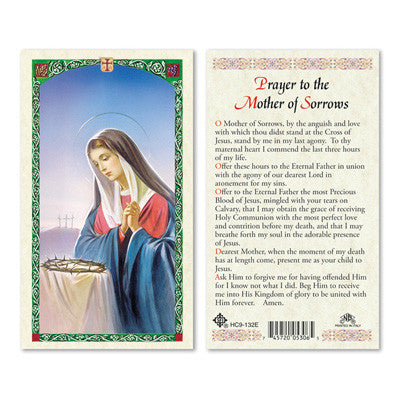 Mother of Sorrows Prayer Card