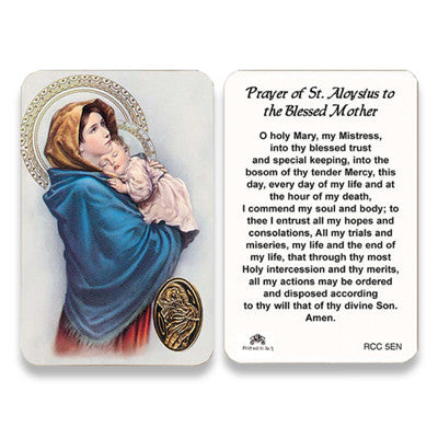 St. Aloysius Prayer to the Blessed Mother Embossed Medal Prayer Card