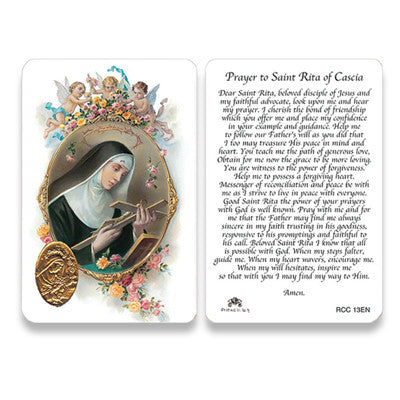 St. Rita    Embossed Medal   Prayer Card