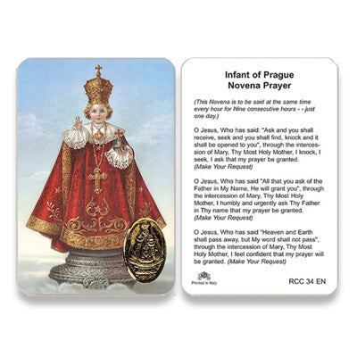 Infant of Prague Novena  Embossed Medal  Prayer Card