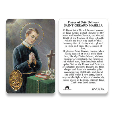 St. Gerard Safe Delivery   Embossed Medal  Prayer Card