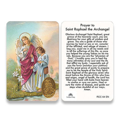 St. Raphael Archangel Embossed Medal Prayer Card