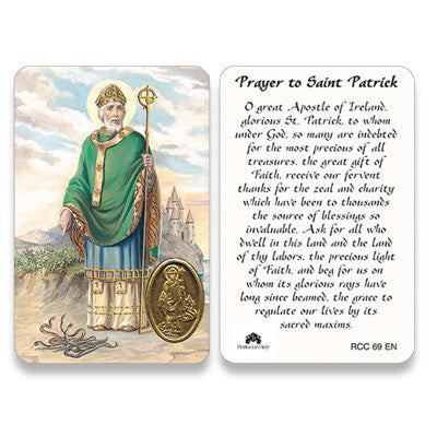 St. Patrick Embossed Medal Prayer Card