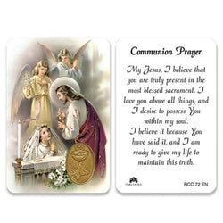 1st Communion Girl Embossed Medal Traditional Image Prayer Card