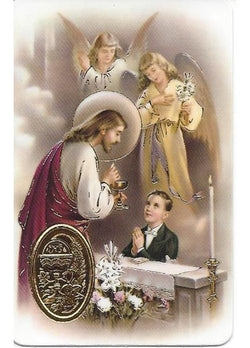 1st Communion Boy Embossed Medal  Traditional Image Prayer Card
