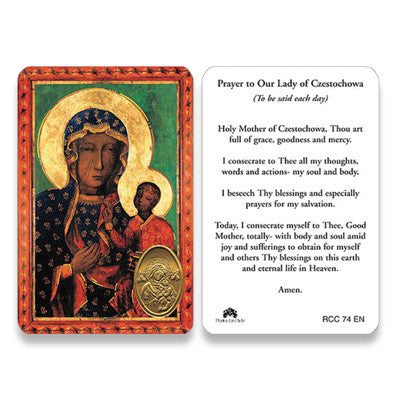 Our Lady of Czestochowa Embossed Medal Prayer Card