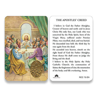 Apostles Creed Embossed Medal Prayer Card