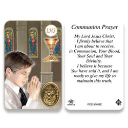 1st Communion Boy Embossed Medal Contemporary Image Prayer Card