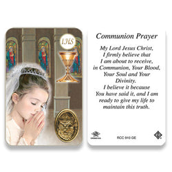 1st Communion Girl Embossed Medal Contemporary Image Prayer Card
