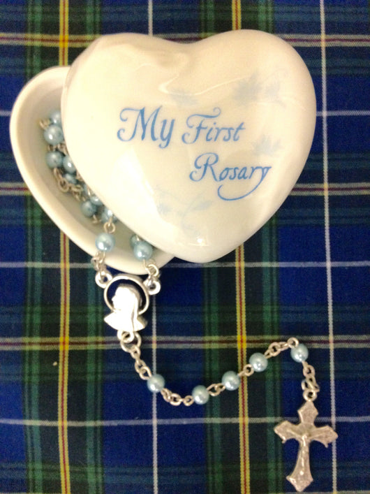 Lumen Mundi My First Rosary-Blue with porcelain heart shaped box