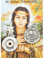 St. Kateri Tekakwitha Prayer Card with Medal