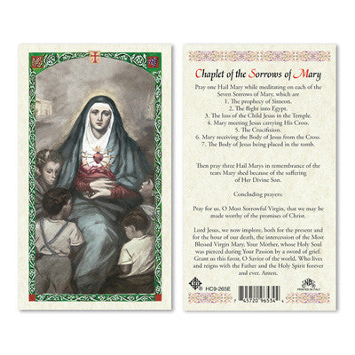Chaplet of the Seven Sorrows of Mary Prayer Card