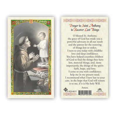 St. Anthony Prayer to Recover Lost Things Prayer Card