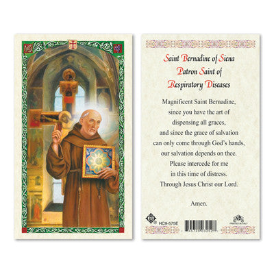 St. Bernadine of Siena Prayer Card