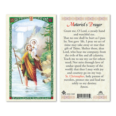 St. Christopher Motorists Prayer Prayer Card