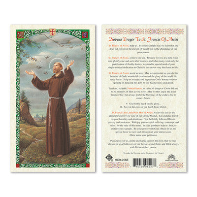 St. Francis of Assisi Novena Prayer Card