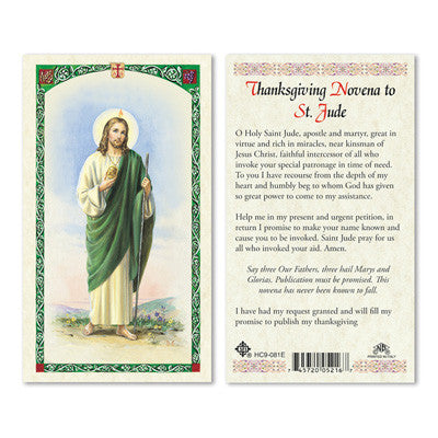 St. Jude Thanksgiving Novena Prayer Card