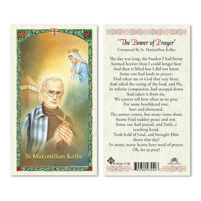 St. Maximillian Kolbe Prayer Card