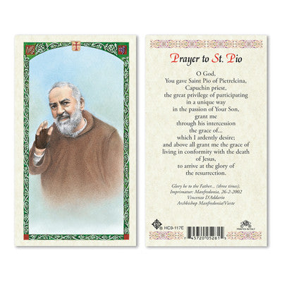 St. Padre Pio Prayer Card