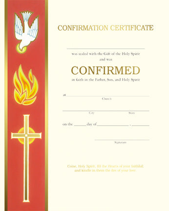 Confirmation Certificate - Holy Spirit Banner