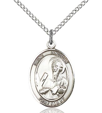 Bliss - St. Andrew the Apostle Sterling Silver Medal and Chain. Saint of Fisherman/Scotland