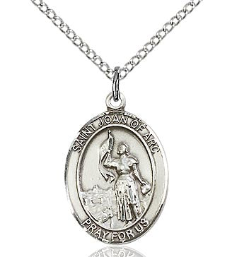 BLISS - St. Joan of Arc Sterling Silver Oval Medal and Chain