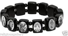 Jeweled Cross - White Stretch Bracelet with Black & White Photos of Figures of Faith