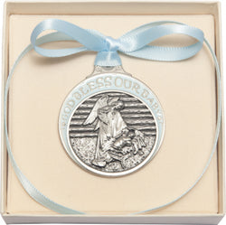 Pewter Baby in Manger Crib Medal with Blue Ribbon