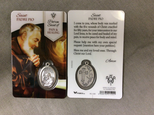 Saint Padre Pio Patron Saint of Pain & Healing Prayer Card with Medal