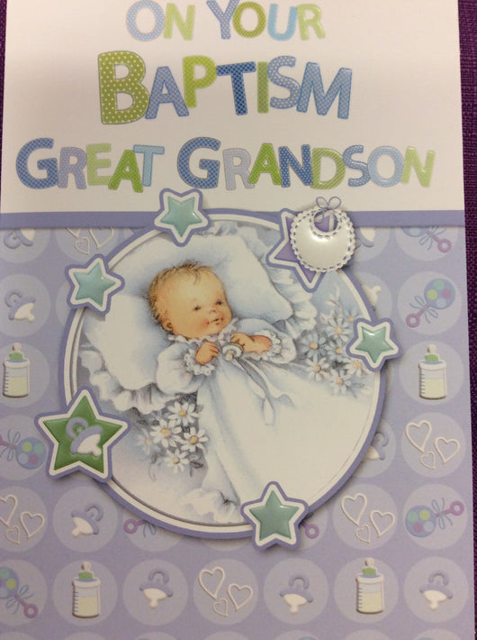 Greetings of Faith - On Your Baptism Great Grandson - Greeting Cards