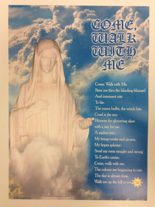 Come Walk with Me (prayer and image of Mary) - poster