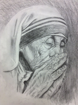 Mother Teresa Praying pencil drawing - framed print