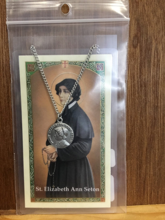 St Elizabeth Ann Seton pewter medal on chain with prayer card