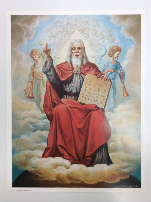 God the Father Almighty with the Ten Commandments - print