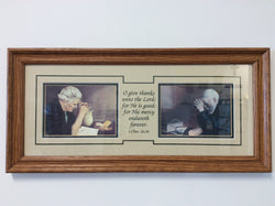 Grace Elderly Couple Praying - framed double print with a verse