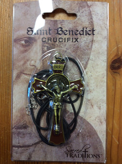 "Saint Benedict Crucifix 3"" Brown and Gold"