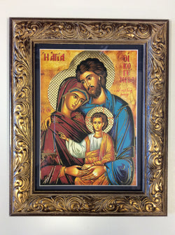 Holy Family (Byzantine) - framed gold-embellished print