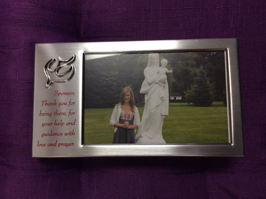 Frame Satin silver photo sponsor for Confirmation