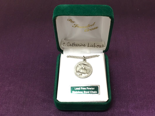 Jeweled Cross St. Catherine Laboure Medal and Chain
